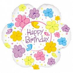 шар с днем рождения цветы