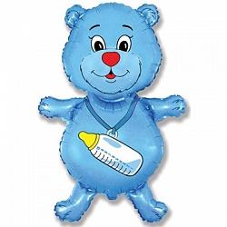 медведь с бутылочкой синий