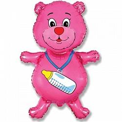 медведь с бутылочкой розовый