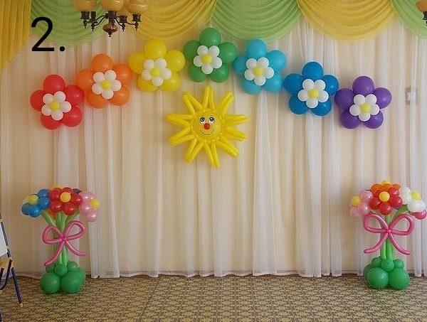 Украшение зала воздушными шарами на выпускной 2