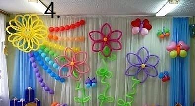 Украшение зала воздушными шарами на выпускной 4